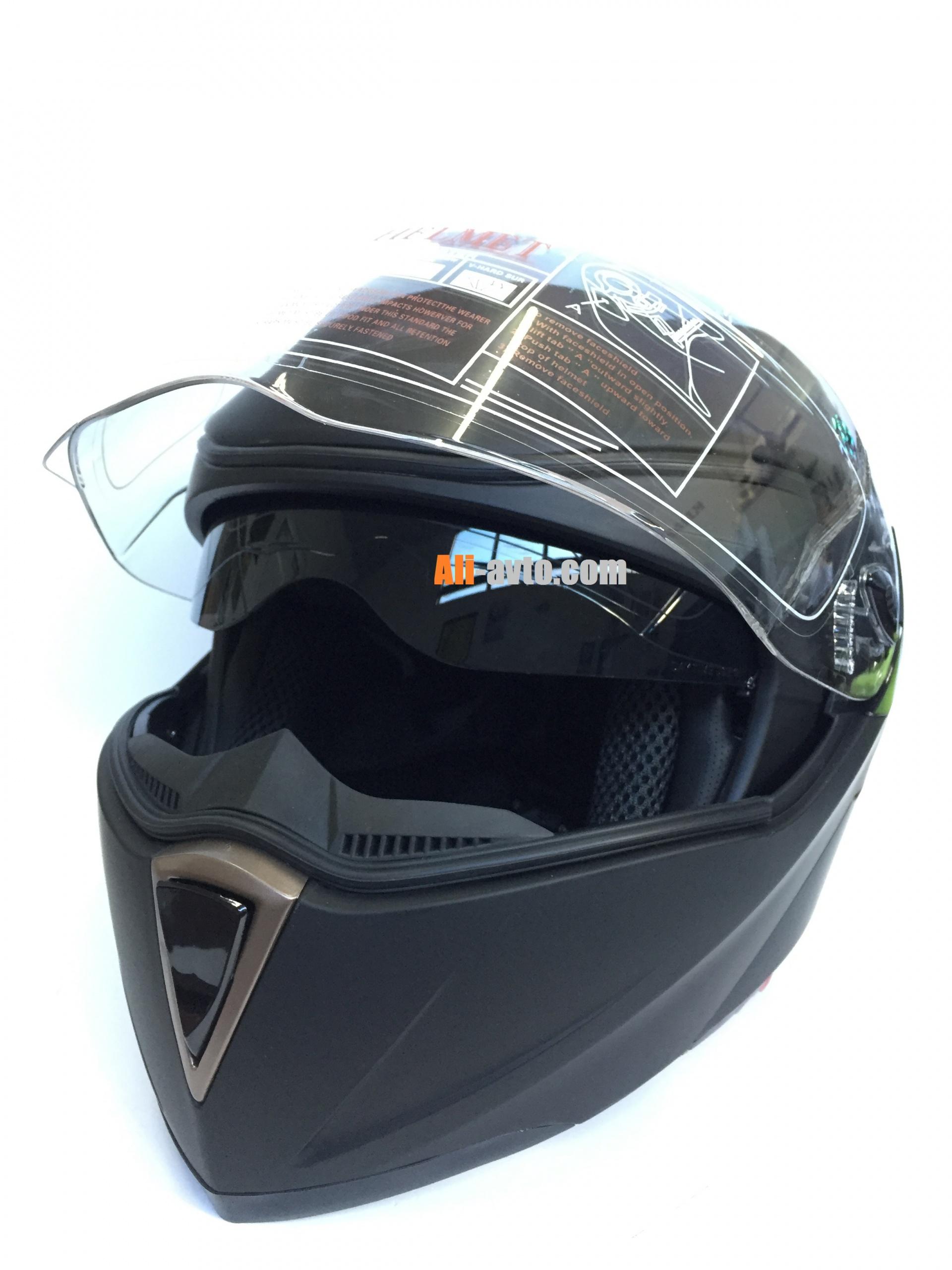 Каска HD за мотор модуларна с очила черен мат А-16