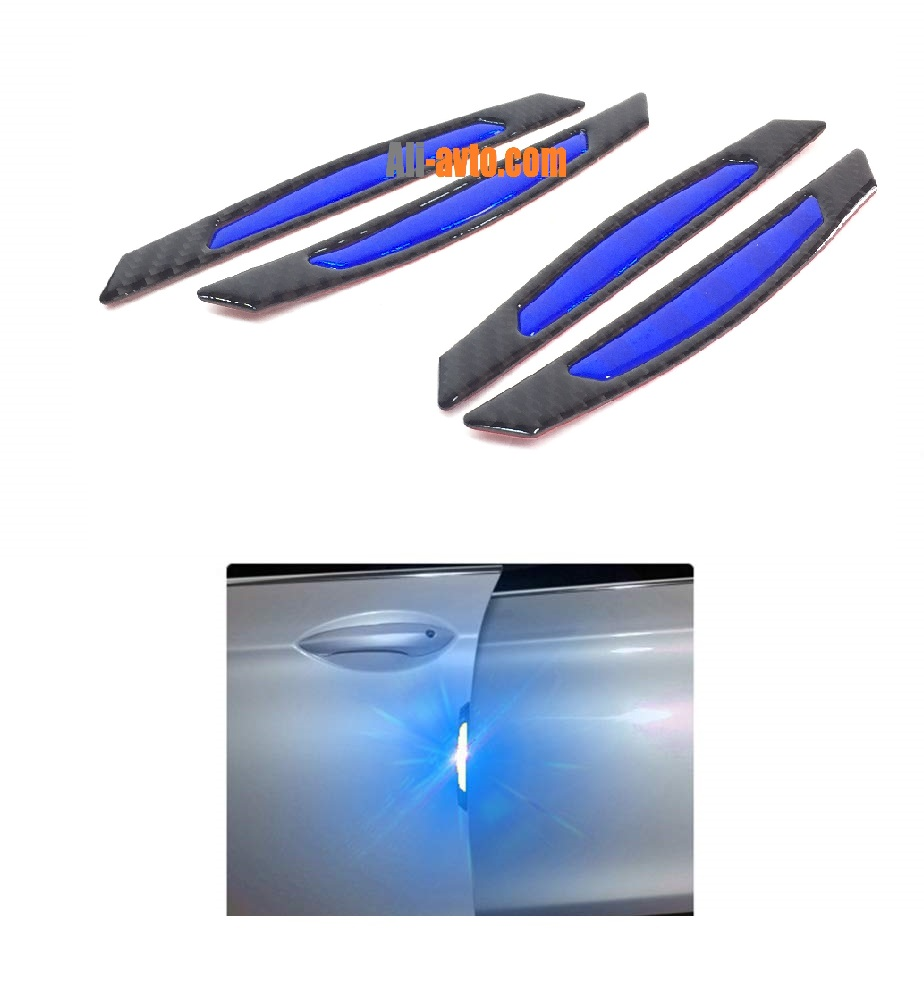 Протектор за автомобилна врата със светлоотразител син/карбон 4 бр.