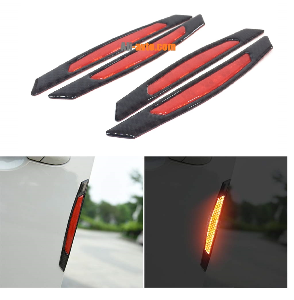 Протектор за автомобилна врата със светлоотразител червен/карбон 4 бр.